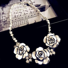 3D blanco flor colgante collar de declaración corto Reino Unido
