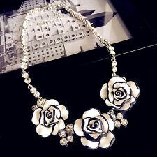 3D white flower pendant statement short necklace UK