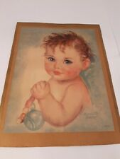 """Precious Vintage Print by """"Charlotte Becker"""" w/ Baby Holding Beads"""