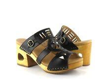 Dansko Oralee Black Waxy Full Grain Leather Cutout PEEP Toe Block Heel Sandal 39