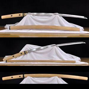 Japanese Shirasaya Katana Sword Folded Steel Clay Tempered horn pegs Sharp