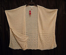 OFF WHITE KIMONO KAFTAN PONCHO CAPE CARDIGAN JACKET SWEATER WRAP TOP~22/24~2X~3X