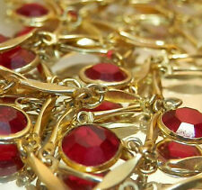 Beautiful Sparkly Vintage 70's Red Bezel Swarovski Crystal Long Necklace 267O5