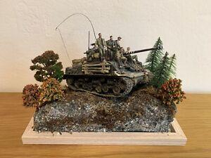 WWII  Fury 1:35 Tank Diorama built painted + 5 Resin figures Scene Brad Pitt War