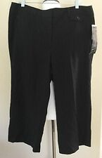 NWTs Black Pinstriped Career Capris Cropped Dress Pants Larry Levine Size 16