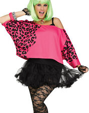 1980'S Retro Hot Pink Leopard Print Crop Top Womens Halloween Costume-Os