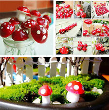 50 PCS Ornament Plant Pots Mini Red Mushroom Fairy Garden Decoration Accessories