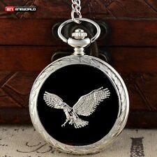 Vintage Black Silver Eagle Pocket Watch Quartz Chain Necklace Pendant Gift Retro