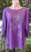 Bob Mackie Wearable Art Embellished Embroidered Butterflies Top 3/4 Sleeve LARGE