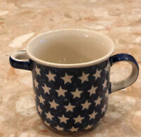 Poland Pottery 12 oz. Coffee Mug Cup Hand Made in Poland Stars Spoon Rest