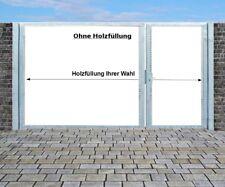 Einfahrtstor Qas Tor Verzinkt mit Pfosten Ohne Holzfüllung 2-flügelig 350x180cm