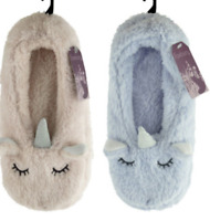 LADIES Soft fleece Unicorn Slippers idea for house 3-4 5-6 7-8 pink / lilac