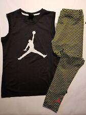 Nike Air Jordan Girls 2 PC Set Shirt Tee & Legging Outfit Size Med.