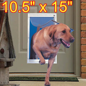NEW Extra Large Pet Door Aluminum Frame for Dog Cat Door With Telescoping White