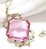 ANTIQUE Gold Filled Filigree VICTORIAN Faceted Pink Glass PENDANT Necklace