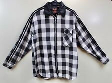 On The Brink Full ZIP Up Front Long Sleeve Black/White Plaid Men's Size Medium