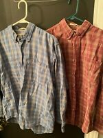 Lot Of 2 Cabela's Chambray Plaid Casual Cotton Button Shirt ~ Outdoors Size L