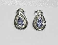 9ct White Gold Tanzanite & Diamond Pear Cluster Earrings