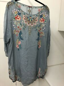 Johnny Was Embroidered Tunic Top XXL