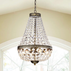 Crystal Glam Teardrop 6-Light Hanging Chandelier ~ Antique Copper Finish Frame