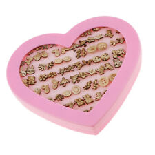 36 Pairs Wooden Ear Stud Lady Girls Cute Earrings with Pink Heart Box Holder