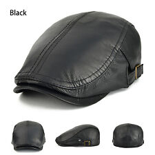 Men's Real Leather 100% Lambskin Black Beret Gatsby Newsboy Cap Driving Cabbie