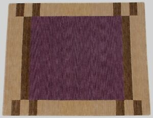 Alfombra Gabbeh 100% Lana 200x250 CM Oriental Hecho a Mano Loom Púrpura Beige