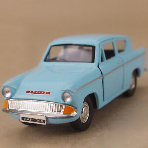 1960 Ford Anglia Blue Die-Cast Metal 1:32 Model Car 12cm Long Pull-Back Opens