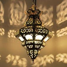 Orientalische Marokkanische Hängeleuchte Hängelampe TRIMBO-MILCHGLAS Messing