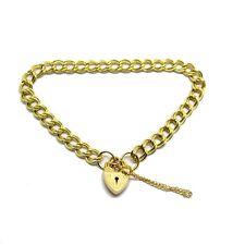 9ct Solid Gold Double link Curb Padlock Charm Bracelet 8 grams