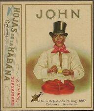 1930s Box JOHN CIGARROS Negro in Top Hat Hojas de la Habana Colunas Hermanos