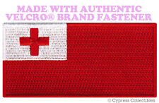 TONGA NATIONAL FLAG PATCH TONGAN EMBROIDERED SOUVENIR w/ VELCRO® Brand Fastener
