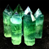 Natural Green Fluorite Quartz Crystal Stone Point Healing Hexagonal Wand Reiki