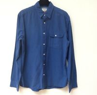 NEXT Men Shirt Size M 100% Cotton Blue Long Sleeve Pocket Casual Smart Lovely
