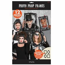 12pc Gothic Halloween Photobooth Picture Frame Photo Selfie Props Party Kit