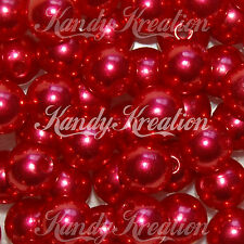 10mm Bright Red Acrylic Round Pearl Spacer Beads for bubblegum party favor Kids