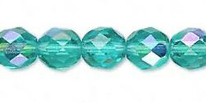 25 Lt Aquamarine AB Czech Glass Faceted Fire Polished Beads 8MM