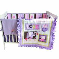 8pcs Nursery Set Cotton Crib Bedding Sets for Baby Girl with Bumpers and Blanket