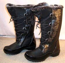 SPORTO BLACK SNAKESKIN Waterproof PREDATOR Snow Winter BOOTS 7M Faux Fur