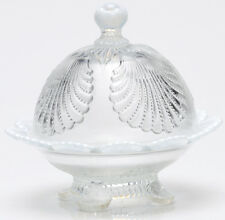 Butterdish - Beaded Shell - Crystal French Opalescent Glass - Mosser USA