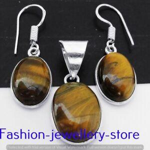Tiger Eye Gemstone 925 Silver Plated Pendant+Earrings Sets Jewelry FST-15-338