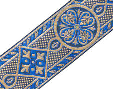 "3 Yds Blue & Gold Jacquard Trim Vestment Medieval Style for Chasuble 2 3/8"" Wide"