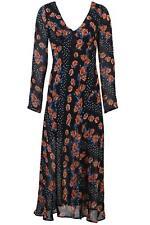 ex Topshop Black Coral Pink Floral V Neck Floaty Midi Dress was £50