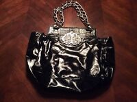 Shiny Leather Leatherock Black Handbag Heavy Chain Handle