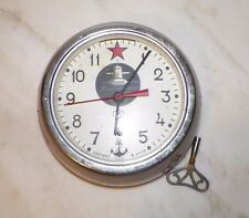 VINTAGE RUSSIAN SUBMARINE CLOCK WITH KEY 4239 HEAVY ROUND GLASS FRONT