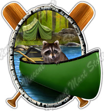 "Camping Raccoon Woods Forest Lake Canoe Car Bumper Vinyl Sticker Decal 4""X5"""