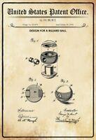 US Patent Billard Ball 1894 Blechschild Schild gewölbt Metal Tin Sign 20 x 30 cm