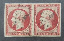 nystamps France Stamp # 19 Used $240 Rare Pair   A9y2682
