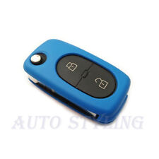 Blue Key Cover Seat Skoda 2 Button Case Remote Fob Protector Cap Hull Oval 42blu