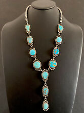 Navajo Sterling Silver Kingman Turquoise Lariat Necklace. K Yazzie